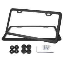 X AUTOHAUX Car 2 Hole License Plate Frame Cover w/Screw Caps - Stainless Steel Black 2 Pcs