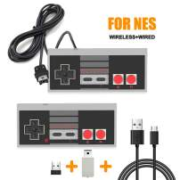 NES Classic Controller with 6FT Cable and NES Wireless Controller for Nintendo Classic Mini Edition SNES Classic 2017 and PC, Wired Joypad No-Wired Gamepad Support Windows/Mac OS/Linux