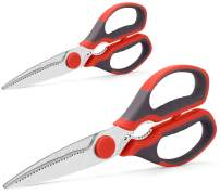 Multifunction Kitchen Scissors 2-Piece Set WELLSTAR, Heavy Duty Food Shears for Chicken Meat Vegetable Fish Herb Poultry Stainless Steel Cooking Scissors with Comfortable Handle Scissors Set (Red)