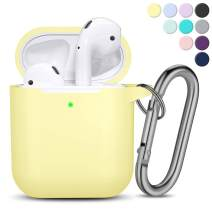 AirPods Case [Front LED Visible], Vcegari Anti-Dust Shock-Proof Durable Silicone Protective Cover Skin for AirPods 1&2 Charging Case with Firm Keychain, Milk Yellow