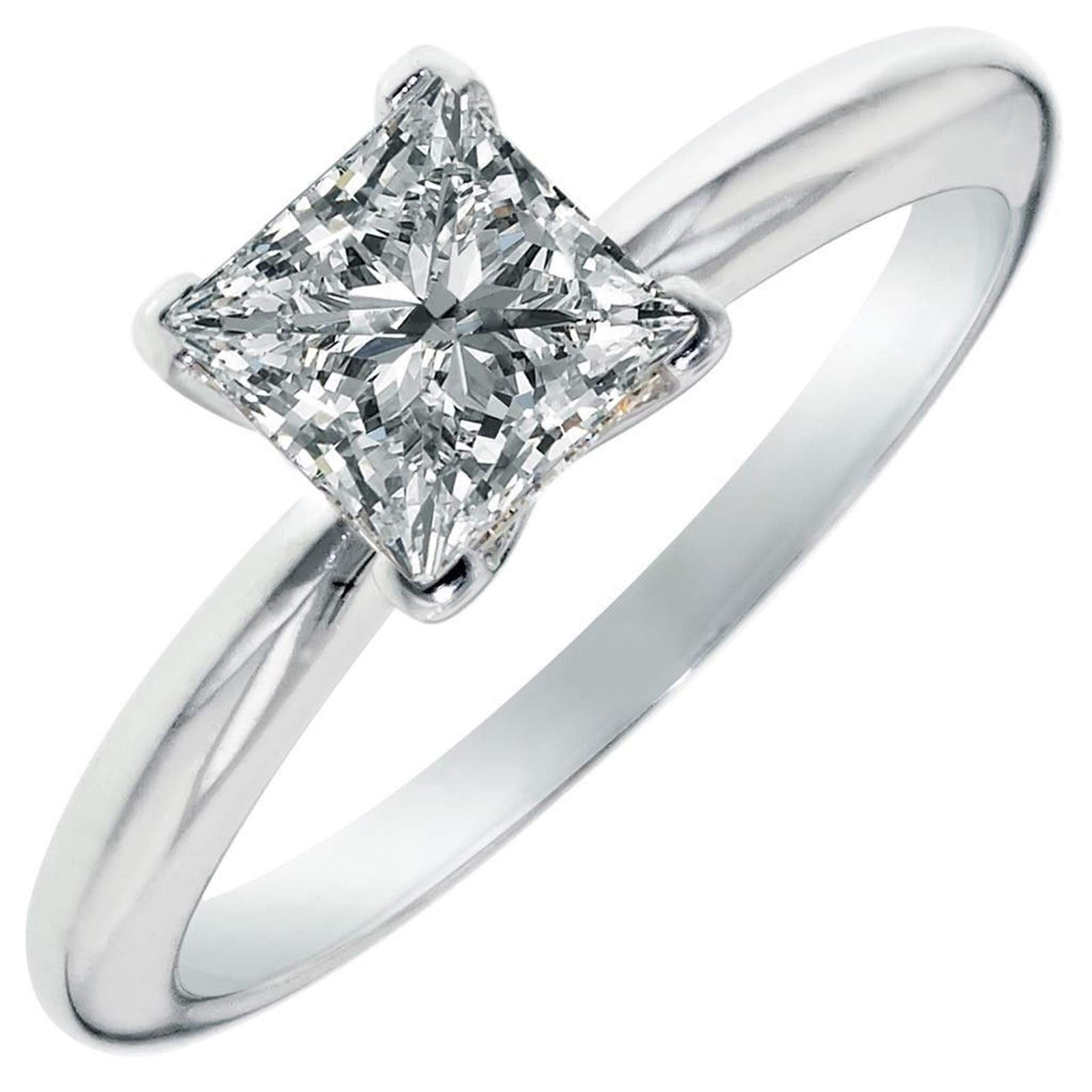 2.9ct Brilliant Princess Cut Solitaire Highest Quality Lab Created White Sapphire Ideal VVS1 D 4-Prong Engagement Wedding Bridal Promise Anniversary Ring Solid Real 14k White Gold for Women
