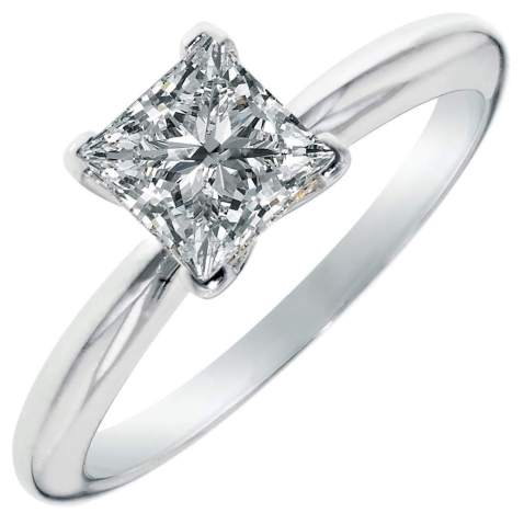 0.45ct Brilliant Princess Cut Solitaire Highest Quality Lab Created White Sapphire Ideal VVS1 D 4-Prong Classic Designer Statement Ring Solid Real 14k White Gold for Women