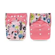 Hi Sprout One Size Adjustable Washable Reusable Pocket Cloth Diapers for Baby Girls and Boys 2pcs,Flowers