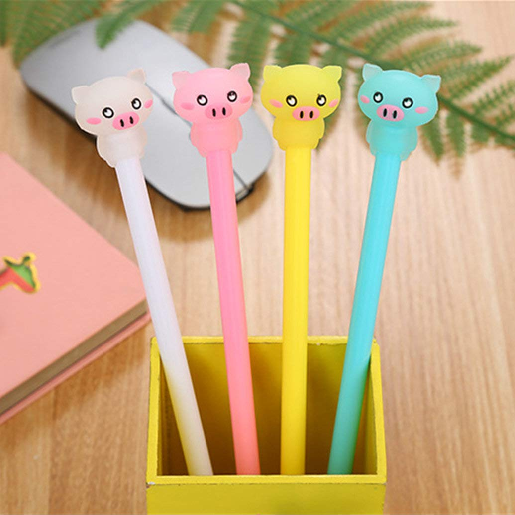 WIN-MARKET Animal Piggy Pig Gel Ink Pen Cute Kawaii Black Writing Pens Ballpoint Black Ink Gel Pen Party Gift Gel Ink Pens Funny School Stationery Office Supplies(6PCS)
