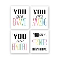 """Typography Watercolor Words Inspirational Quote&Saying Modern Art Print Set of 4 (8""""X10"""" Canvas Painting,Motivational Phrases Wall Art Poster for Nursery or Kids Room Home Decor,No Frame"""