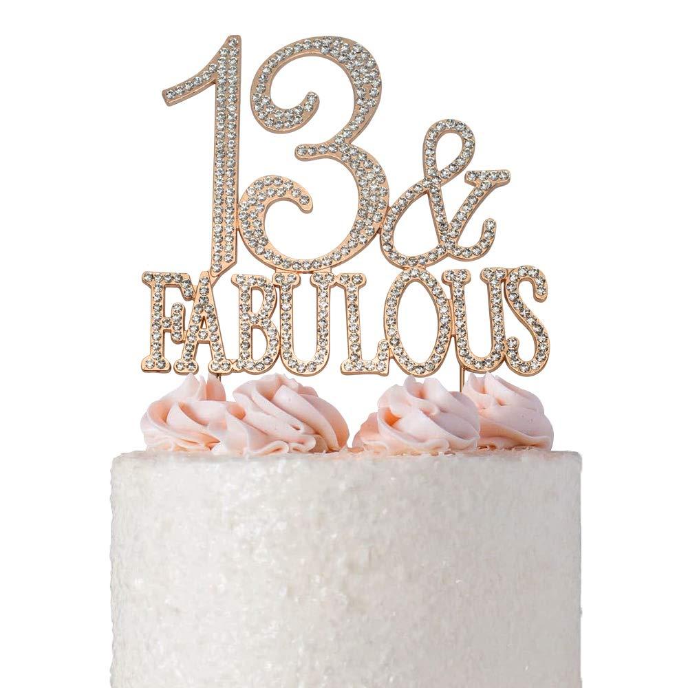 13TH BIRTHDAY DIAMANTE CAKE DECORATION SILVER THIRTEEN 13 TH TOPPER ANNIVERSARY