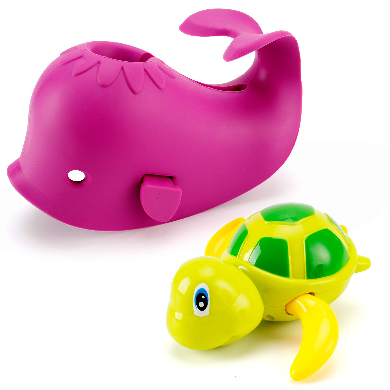 Artoflifer Baby Bath Spout Cover Baby Bathtub Faucet Cover Bath Tub Faucet Extender Protector Silicone Soft Spout Cover Purple Whale Bundles with Bath Pool Toys Wind Up Turtle Baby Bath Toys Pink