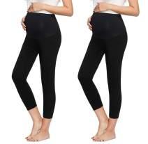 Women's Maternity Basic Stretch Full Length/Crop Capri/Short Secret Fit Belly Leggings Pants