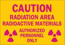 "Brady 42859 Aluminum Radiation & Laser Sign, 7"" X 10"", Legend ""Caution Radiation Area Radioactive Materials Authorized Personnel Only (with Picto)"""