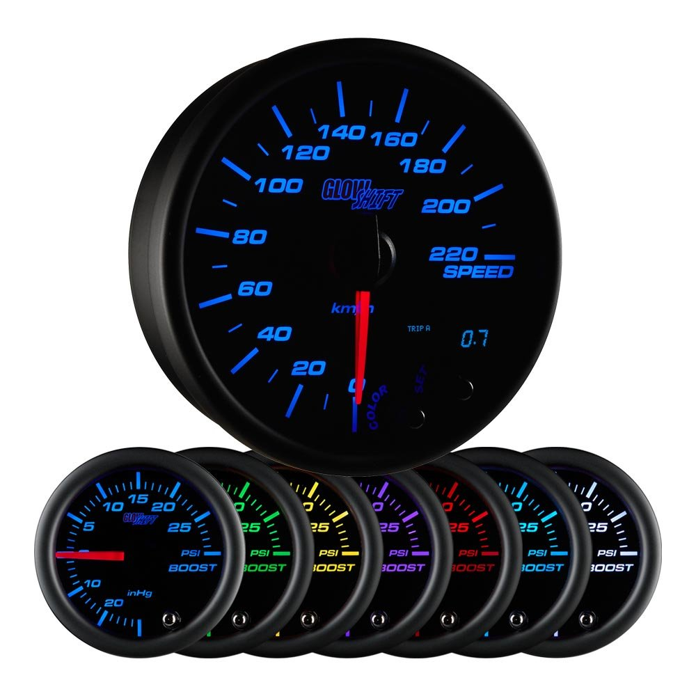 "GlowShift Black 7 Color 220 Kilometer KM Speedometer Gauge Kit - Mounts in Custom Dashboard - Resettable Trip Meter - Black Dial - Clear Lens - 3-3/4"" 95mm"