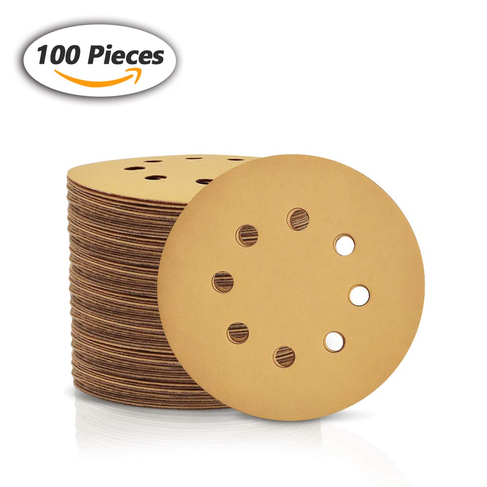 SPEEDWOX 100 Pcs 5 Inches 8 Hole Sanding Discs 400 Grit Dustless Hook and Loop Sandpaper for Random Orbital Sander Yellow Finishing Discs for Automotive Woodworking