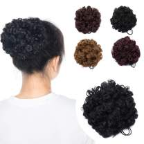 Kinky Curly Synthetic Puff Ponytail Hair Bun for African American Women Drawstring Scrunchy Hairpiece with Clips Short Pigtail 2 Pieces 1B Black
