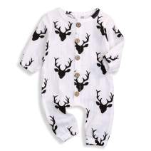 Infant Newborn Baby Boys Girls Fall Outfits Deer Print Jumpsuit Cotton Linen Clothes Set