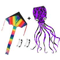 HOONEW Large Rainbow Delta Kite and Mollusc Octopus for Kids and Adults Beach Trip Park Family Outdoor Games and Activities Great Gift to Children-2 Packs with Kite Handles