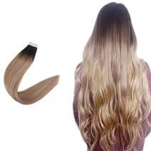"""Easyouth 14"""" PU Tape In Hair Extensions Balayage Color #1B Off Black Fading To #18 Ash Blonde Highlight With #12 Blonde 50 Gram Per Pack 20 Pieces 100% Human Hair Skin Weft Extensions"""