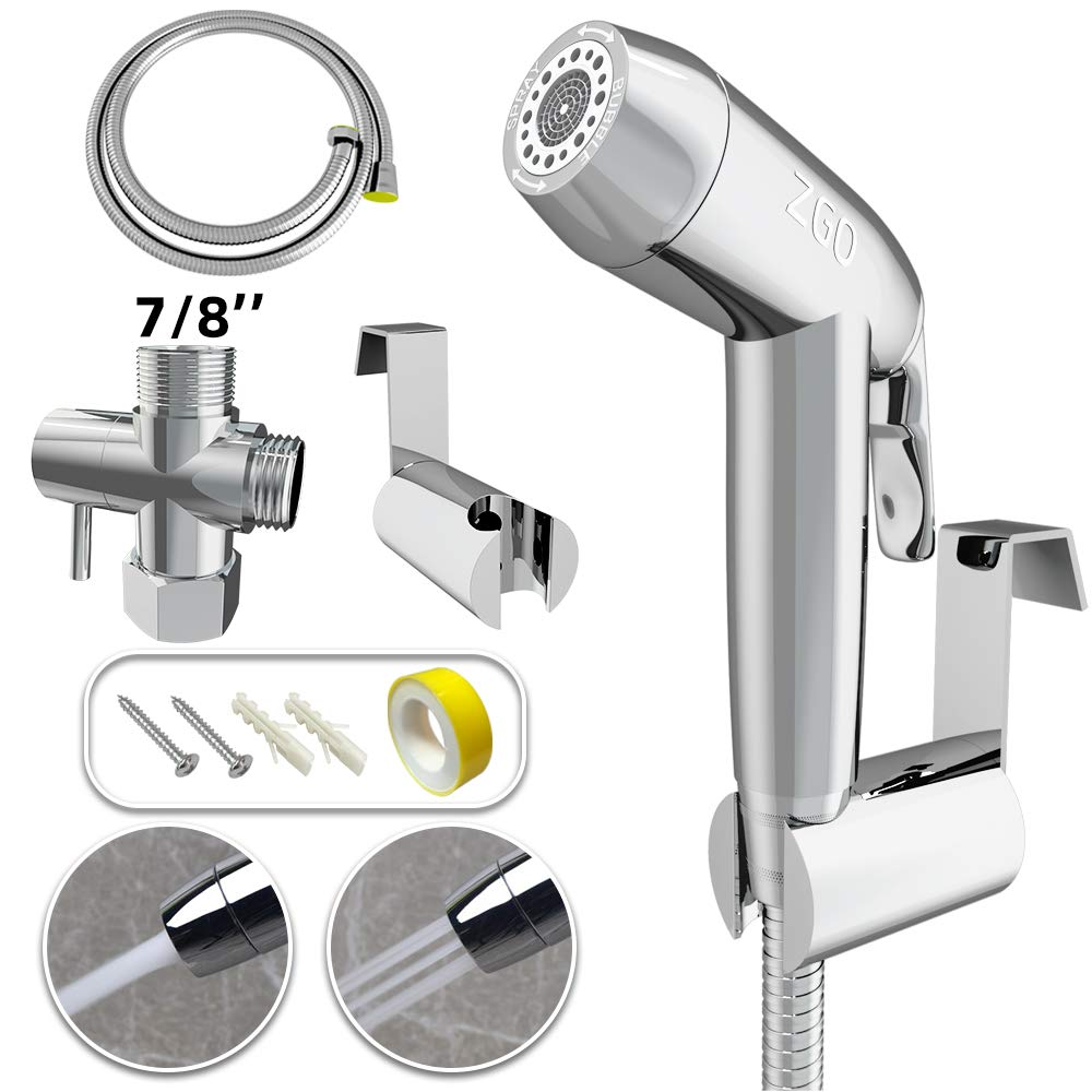 """ZGO Handheld Bidet Sprayer for Toilet, with Adjustable Pressure Control for Feminine Wash, Baby Diaper Cloth and Shower Sprayer for Pet, Wall or Toilet Mount(Only Compatible with 7/8"""" Toilet)"""