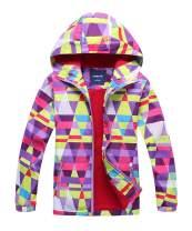 Hiheart Girls Hooded Jackets Outdoor Fleece Lined Windproof Coat