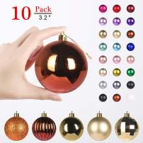 GameXcel Christmas Balls Ornaments for Xmas Tree - Shatterproof Christmas Tree Decorations Large Hanging Ball Bronze & Gold3.2 x 10 Pack