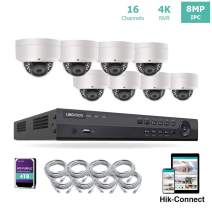 LINOVISION 16 Channel 4K IP PoE Security Camera System 16ch 4K NVR and 8 Outdoor 8MP Dome PoE IP Cameras with 4TB HDD Support Audio Night Vision POE Plug-n-Play Free Hik-Connect and Guarding Vision