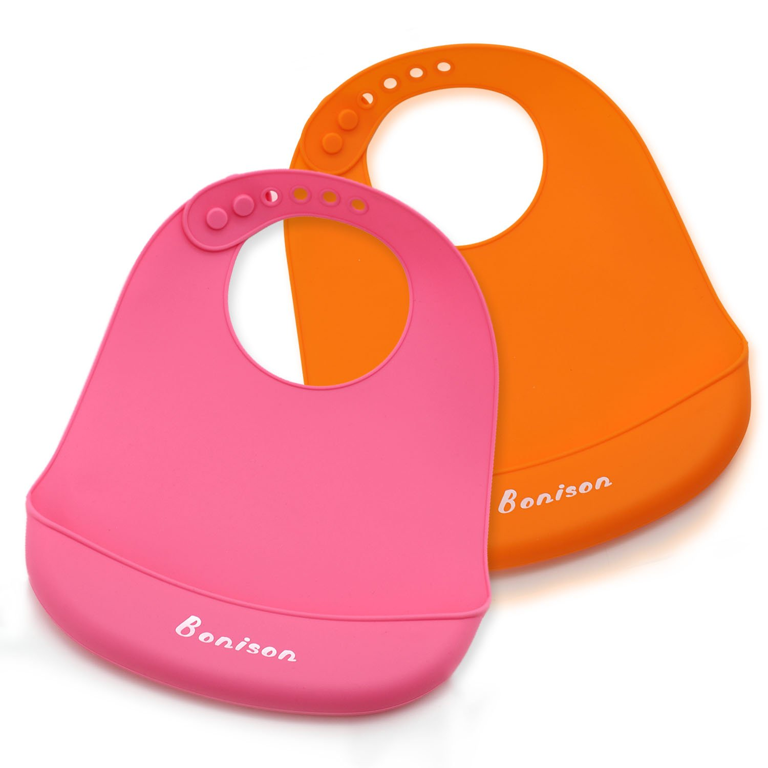 Bonison Waterproof Silicone Bib Easily Wipes Clean! Comfortable Soft Baby Bibs Keep Stains Off! Spend Less Time Cleaning After Meals with Babies or Toddlers!