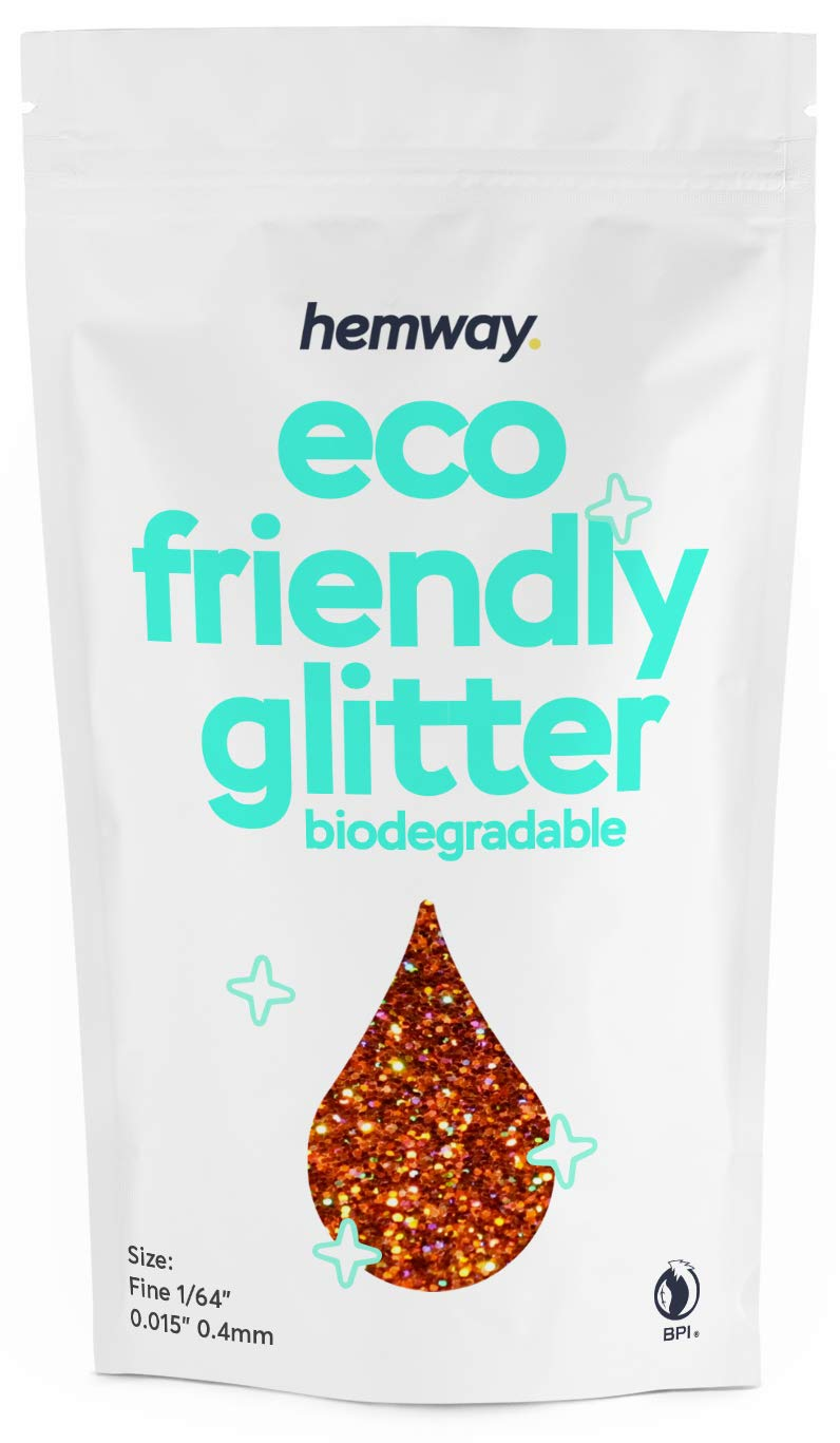 """Hemway Eco Friendly Biodegradable Glitter 100g / 3.5oz Bio Cosmetic Safe Sparkle Vegan For Face, Eyeshadow, Body, Hair, Nail And Festival Makeup, Craft - 1/64"""" 0.015"""" 0.4mm - Copper Holographic"""