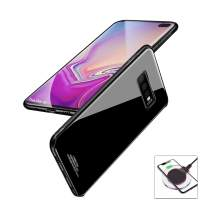 evershare Galaxy S10 Plus Case Tempered Glass Back Soft TPU Bumper Anti-Scratch Shockproof Drop Protection Pure Color Slim Fit Cover for Galaxy S10+, Black