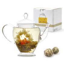 Teavivre Princess Flowering Teapot Gift Set - 15 oz Borosilicate Glass Teapot, 2 Handmade Blooming Flower Tea Balls