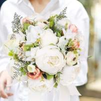HiiARug Bridal Bouquets for Wedding, Artificial Peony Rose Artificial Flower Bouquet Bride Bridesmaid Holding Flower (Milky White)