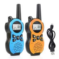 Zastone Walkie Talkies for Kids, Rechargeable 22 Channels HD Sound 4-Miles Range Two Way Radios with Belt Clip and Flashlight,Birthday Toy Gift for Boys & Girls Age 3-12 Years Old(Blue&Orange)