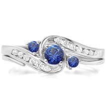 Dazzlingrock Collection 10K Round Blue Sapphire & White Diamond Ladies Swirl Bridal Engagement Ring Matching Band Set, White Gold