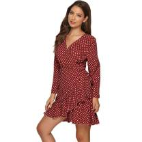 ROVLET Women's 2019 Cute V Neck Short Cap Sleeve Ruffle Polka Dot Print Loose Swing A Line Beach Mini Dress