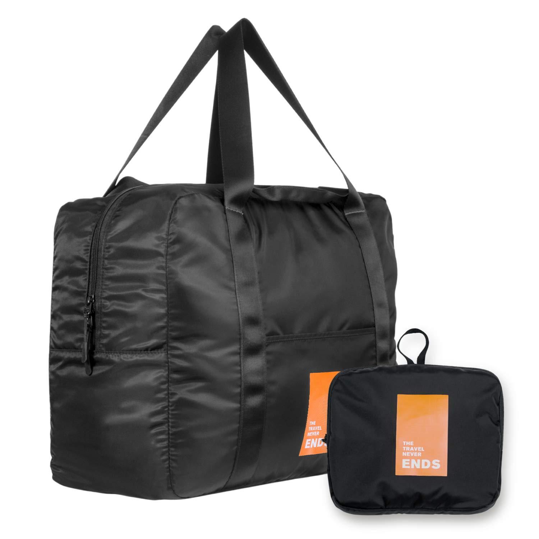 Foldable Travel Bag, JIMISHA Travel Duffel Bag Lightweight Luggage Sports Gym Bag Water Resistant Nylon, 32L, Orange