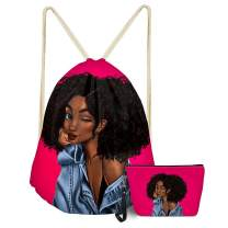 Horeset Set of PU Leather Cosmetic Bag and Drawstring Backpack, African Girl Zipper Makeup Bag Toiletry Pouch Adjustable Rucksack Outdoor Travel Bag
