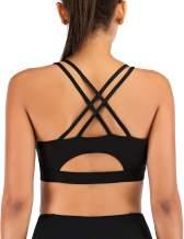 MotoRun Padded Strappy Sports Bras for Women Criss Cross Back Medium Support Workout Running Yoga Bra…