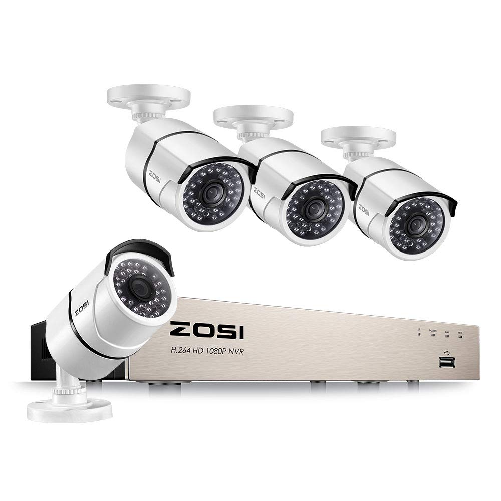 ZOSI 1080P PoE Security Cameras System,8CH 1080P Surveillance NVR, 4pcs 1920TVL Outdoor Indoor PoE CCTV IP Cameras,100ft Night Vision, Power Over Ethernet, No Hard Drive