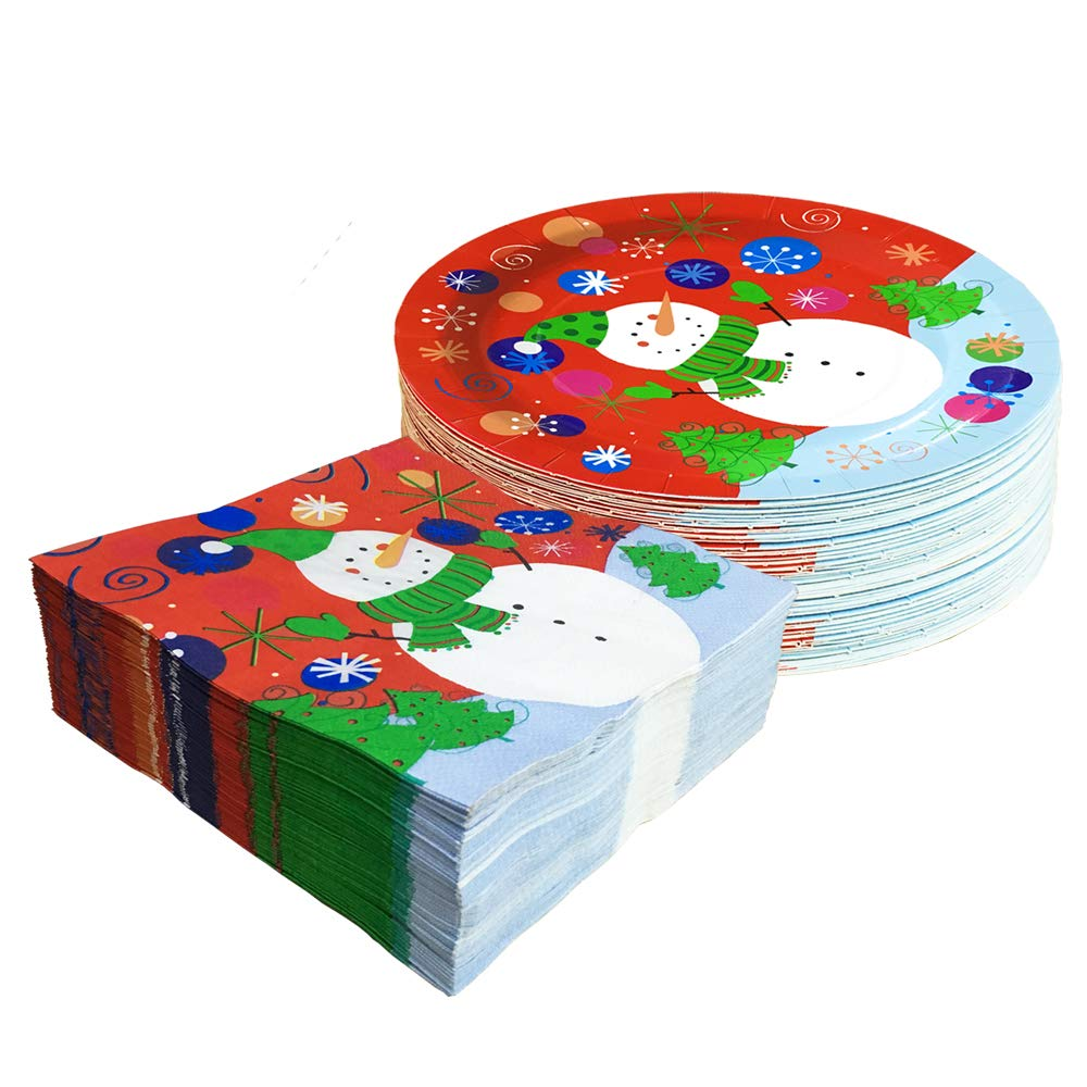 Christmas Snowman Paper Dinnerware Set-Serve 50- Includes 9 Inches Paper Dinner Plates and Paper napkins