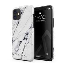 BURGA Phone Case Compatible with iPhone 11 - Satin White Marble Cute Case for Girls Heavy Duty Shockproof Dual Layer Hard Shell + Silicone Protective Cover