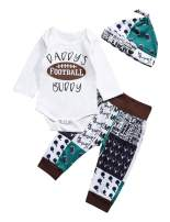 itkidboy Baby Boy Girl Romper Sleeves Baseball Print Romper Pants Outfit with Hat Summer Clothes Set