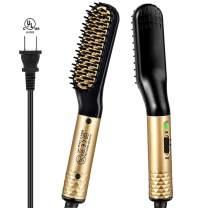 Beard Straightener for Men Ejoy Electric Beard Straightening Brush Hot Beard Comb with 2 Temp Modes 360 Degree Rotating Cord Fast Heat up Beard Straightener Comb for Men Short Long Beard Hair (Gold)