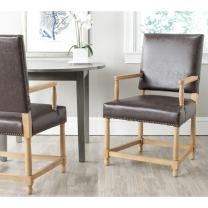 Safavieh Mercer Collection Stratton Linen Side Chair with Nail Head