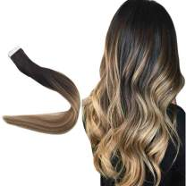 """Easyouth 20"""" Remy Human Hair Tape Hair Extensions Balayage Color #1B Off Black Fading to #8 And #22 Highlighted 50 Gram Invisible Glue In Hair Extensions Seamless Skin Weft"""