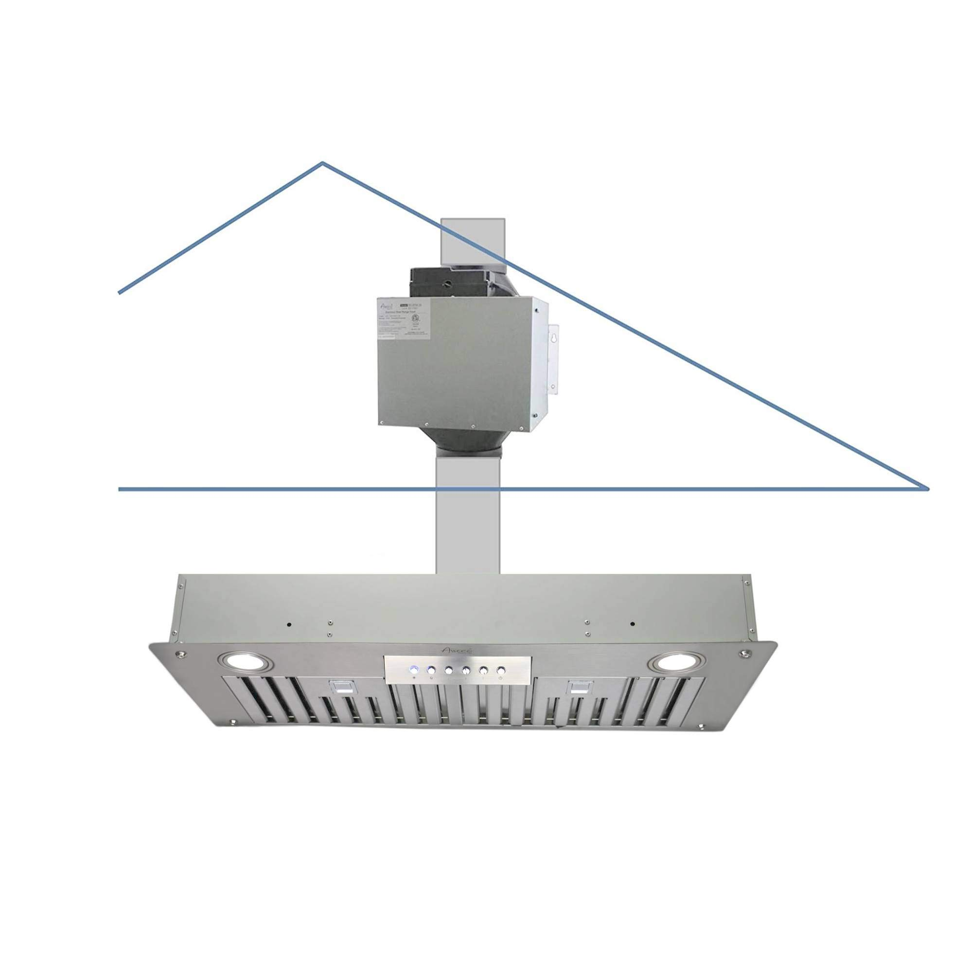 "Awoco Super Quiet Split Insert Stainless Steel Range Hood, 4-Speed, 800 CFM, LED Lights, Baffle Filters with 6"" Blower (36""W 6"" Vent)"