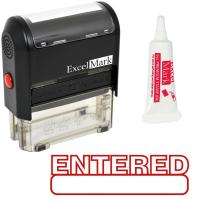 Entered Self Inking Rubber Stamp - Red Ink (42A1539WEB-R) (Stamp Plus 5cc Refill Ink)