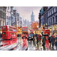 TOCARE Acrylic Adult Paint by Number Kits for Adults Canvas Romantic Countryside Scenes Painting for Home Wall Decor,16x20inch Mordern Bus Pattern