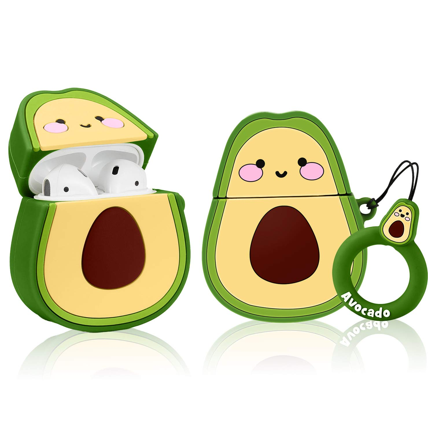 Mulafnxal Compatible with Airpods 1&2 Case,Cute Funny Cartoon Fruit Character Silicone Airpod Cover,Kawaii Fun Design Skin,Fashion Animal Designer Cases for Girls Kids Teens Boys Air pods(Avocado)