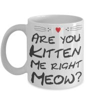 Funny Kitten Mug - Are You Kitten Me Right Meow? - 11 oz Ceramic Coffee Mug - Kitten lover gifts