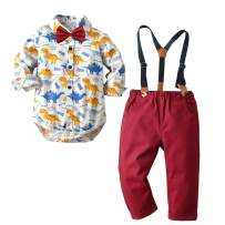 Baby Boys Clothes Sets Bowtie Shirts + Suspenders Pants 3pcs Gentleman Outfits Suits