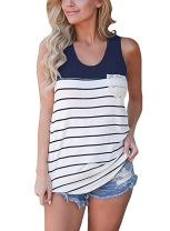 Hount Womens Colorblock Striped Racerback Tank Tops Casual Sleeveless Cami Tunic Tops Blouses