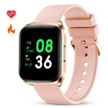 GOKOO Smart Watch for Women Fitness Tracker with All-Day Heart Rate Monitor Waterproof IP68 Sleep Monitor Pedometer Step Calorie Kilometer Music Camera Remote Full Touch Smartwatch (Pink)