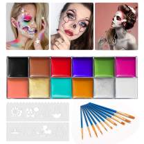 12 Color Face Body Paint Kit, Professional Face Painting Kit for Kids & Adults - Non-Toxic, Hypoallergenic Paints Palette for Halloween Party Cosplay (#03 (96g / 3.38oz) with 10 Brushes, 8 Stencils)